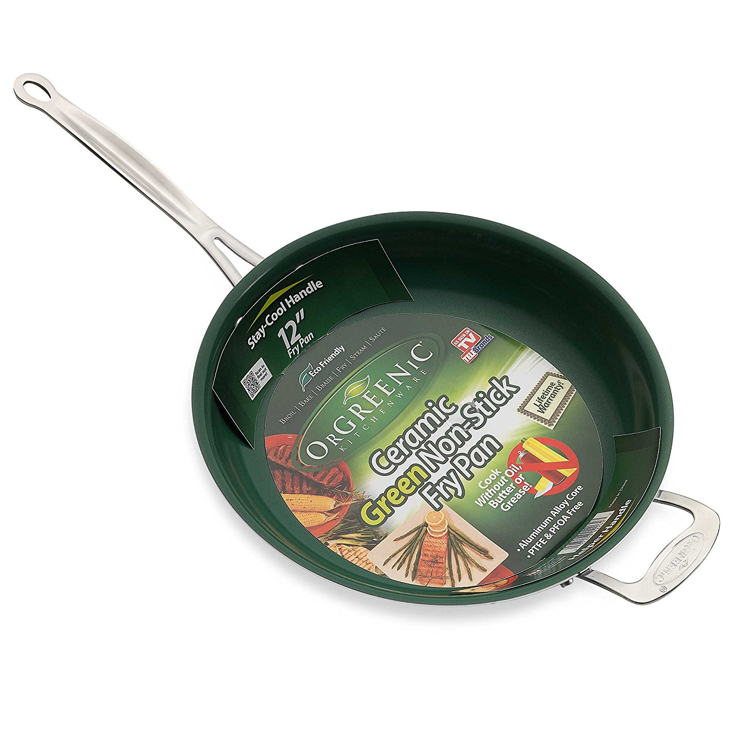 Orgreenic 12'' Non Stick Ceramic Frying Pan With Helper Handle as Seen On TV, This Orgreenic Ceramic Green Non Stick Frying Pan is designed to let you.., By Telebrands