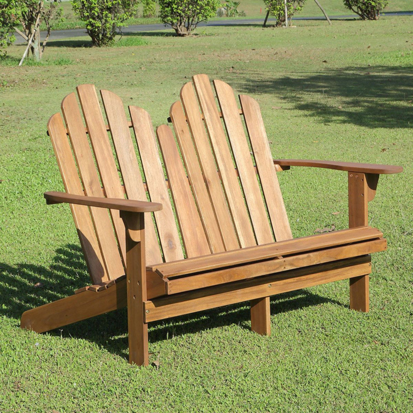 Linon Adirondack Double Bench, Brown by Outdoor Benches