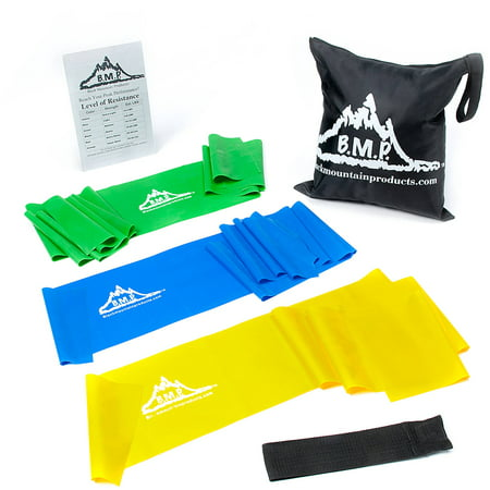 Black Mountain Products Therapy Exercise Bands With Resistance Band Carrying Case  Door Anchor And Starter Guide