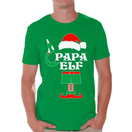 Awkward Styles Papa Elf Shirt Elf Christmas Tshirts for Men Papa Elf Ugly Christmas Shirt Papa Elf Christmas Holiday Top Funny Elf Suit Xmas Party Holiday Men's Tee Xmas Gift Idea for Daddy