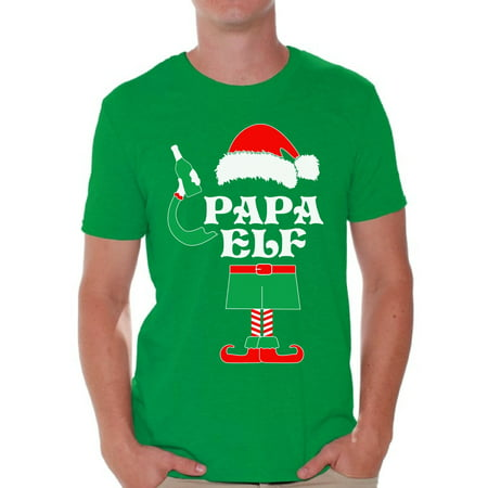 Awkward Styles Papa Elf Shirt Elf Christmas Tshirts for Men Papa Elf Ugly Christmas Shirt Papa Elf Christmas Holiday Top Funny Elf Suit Xmas Party Holiday Men's Tee Xmas Gift Idea for Daddy (Halloween T Shirt Ideas Diy)