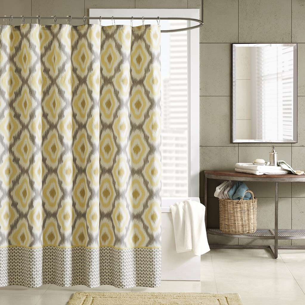 INK+IVY Ankara Cotton Printed Shower Curtain In Yellow