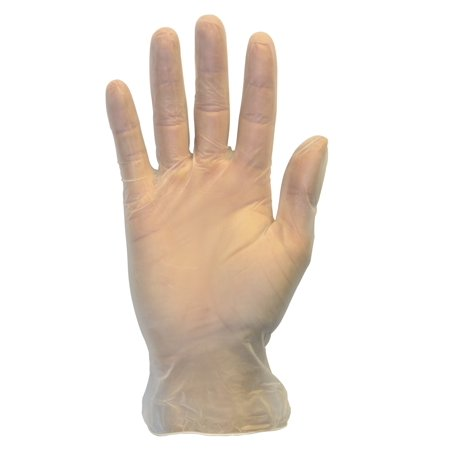 Disposable Vinyl Gloves - Lightly Powdered, Clear, Latex Free and Allergy Free, Plastic, Work, Food Service, Cleaning, Wholesale Cheap, Size Medium (Box of 100)