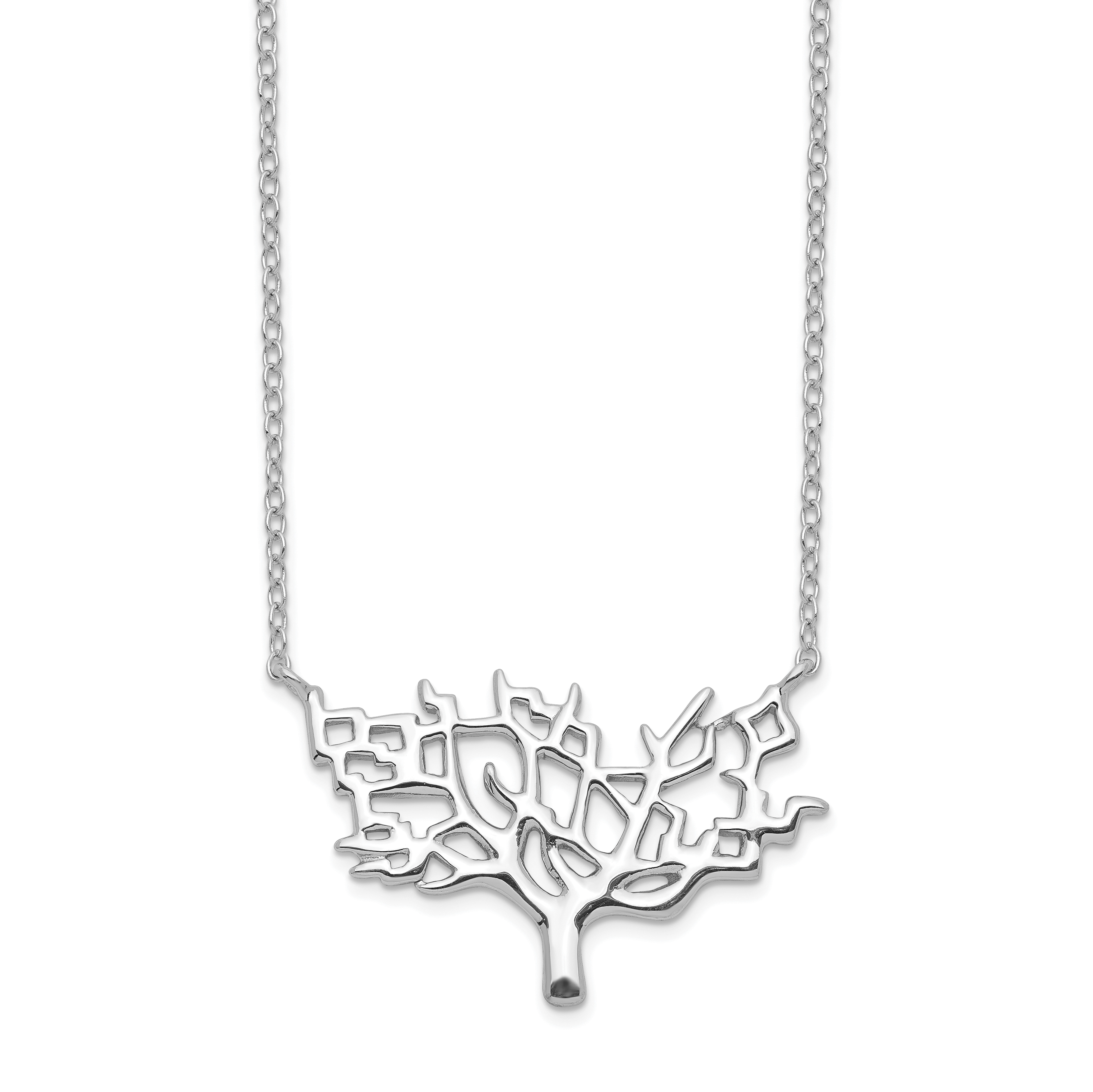 925 Sterling Silver Tree 2 Inch Extension Chain Necklace Pendant Charm Leaf Fine Jewelry Gifts For Women For Her - image 2 de 2