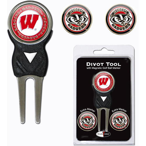 Team Golf NCAA Wisconsin Divot Tool Pack With 3 Golf Ball Markers