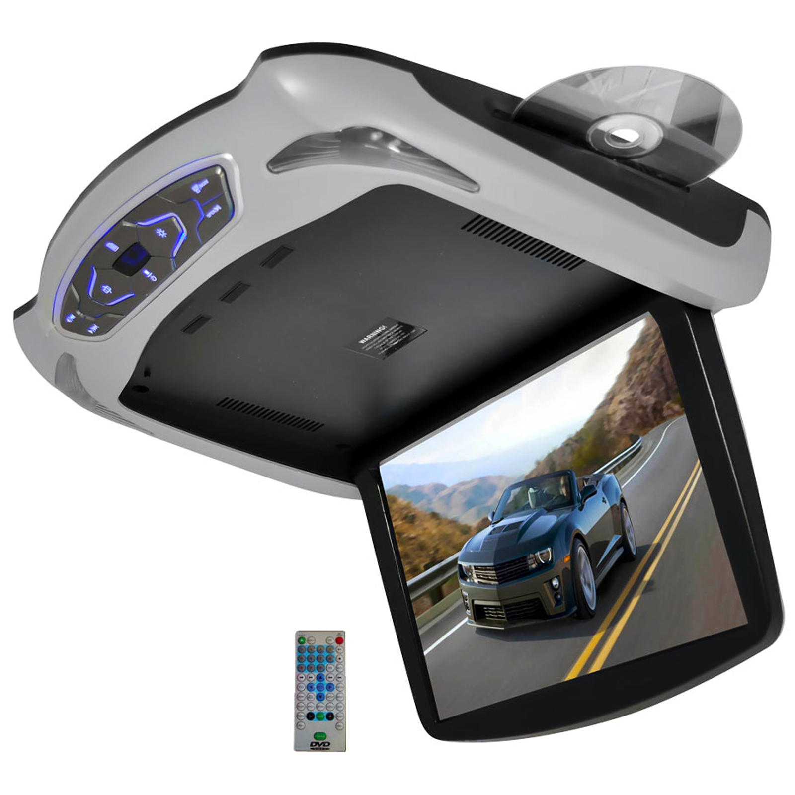 "Pyle 13.3"" Roof Mount TFT LCD Monitor Built In DVD/USB/SD Player w/ Wireless FM/IR Transmitter's & Included 3 Color Skins (Gry/Blk/Tan)"