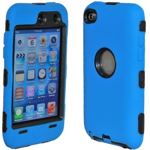 Dual Flex Hard Hybrid Gel Case for Apple iPod Touch 4th Gen - Dark Blue/Black