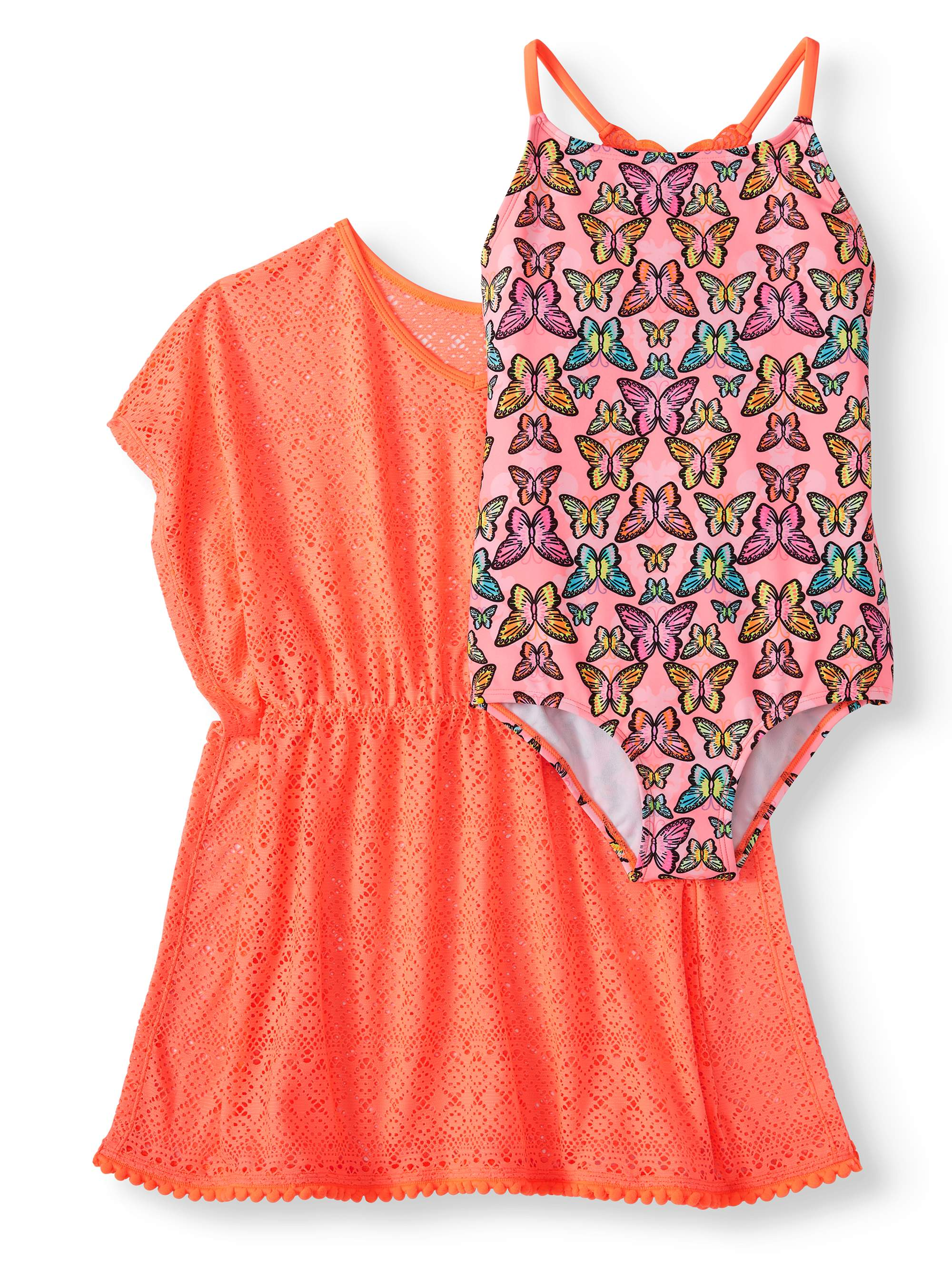 Girls' Crochet Butterfly One-Piece Swimsuit and Kaftan Coverup, 2-Piece Set