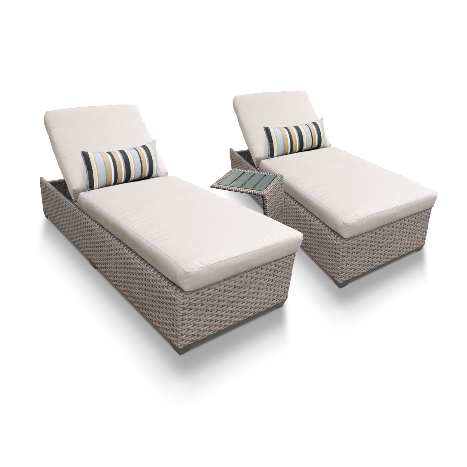 Harmony Chaise Set of 2 Outdoor Wicker Patio Furniture With Side Table
