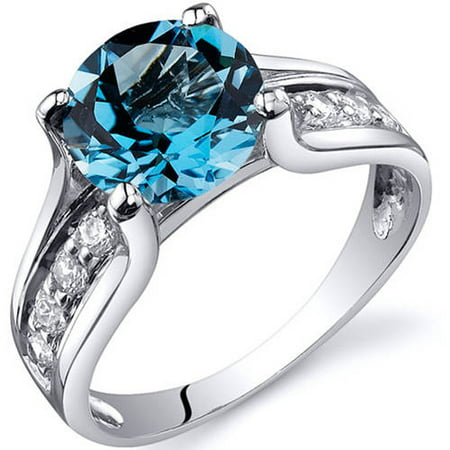 Solitaire Style 2.25 carats Swiss Blue Topaz Sterling Silver Ring in Sizes 5 to 9 Style SR10232 ()