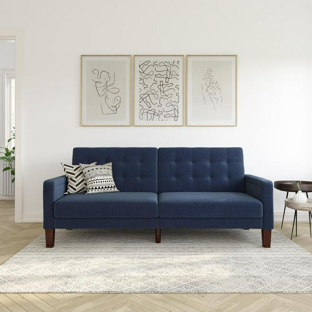 Better Homes & Gardens Porter Fabric Tufted Sofa Bed, Navy Linen