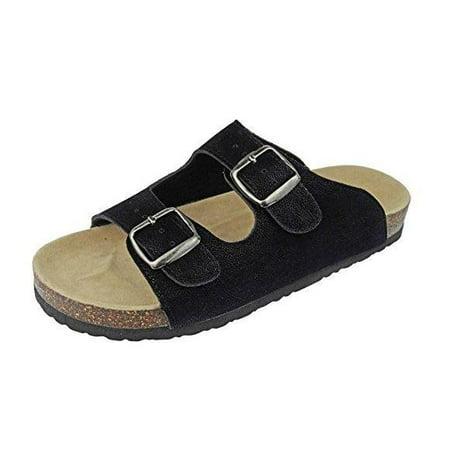 Black Nubuck Sandals (Outwoods Women's Bork 46 Black Nubuck Double Buckle Birk Style Slide On Sandal Size: 11 M)