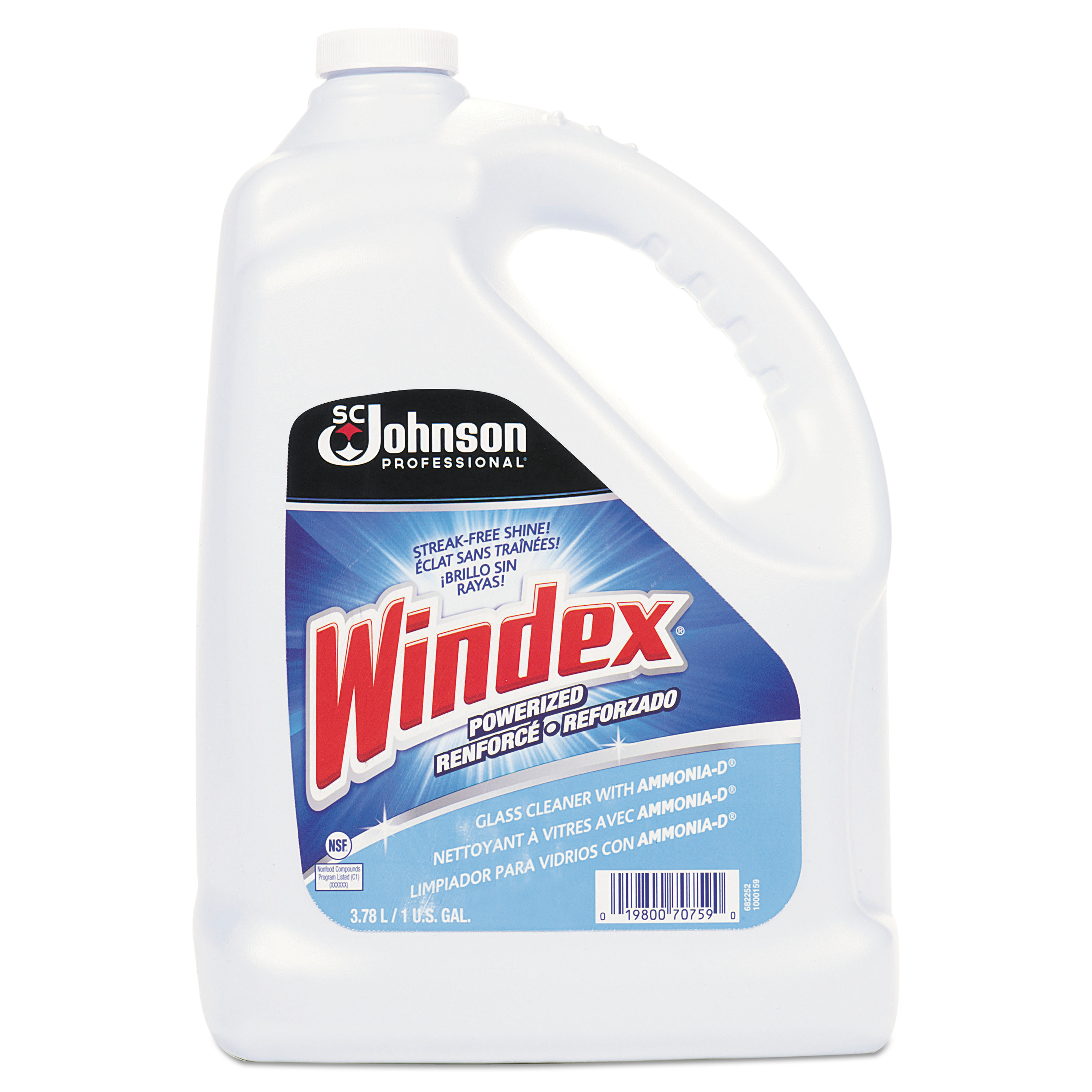 Windex Glass Cleaner with Ammonia-D, 1gal Bottle, 4/Carton -SJN696503