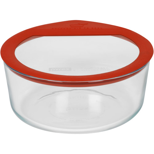 Pyrex No-Leak Glass 7-Cup Round Food Storage Container