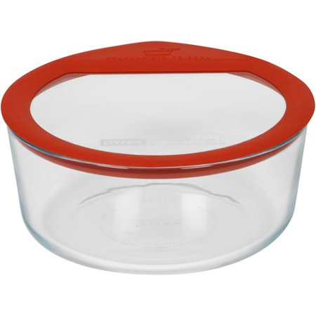 pyrex no leak glass 7 cup round food storage container. Black Bedroom Furniture Sets. Home Design Ideas