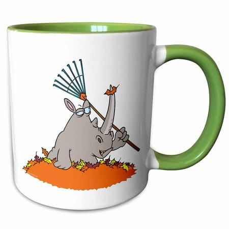 3dRose Funny Rhino in Autumn Leaf Pile - Two Tone Green Mug, 11-ounce (Rubino Green)