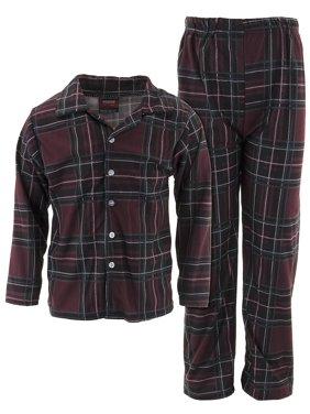 MacHenry Boys Burgundy Plaid Coat-Style Pajamas