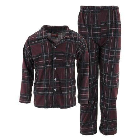 MacHenry Boys Burgundy Plaid Coat-Style - Red Plaid Christmas Pajamas