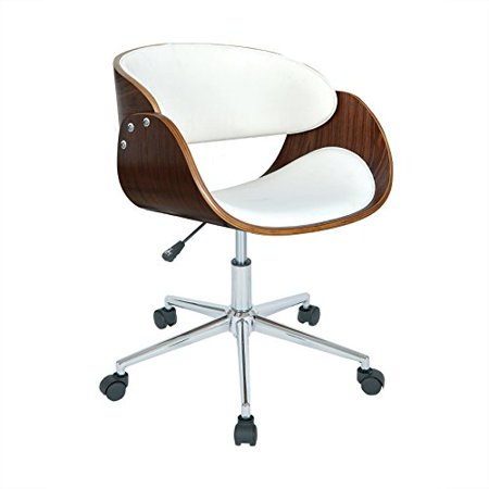 Modern Wood Faux Leather Upholstery Seat Office Chair with Chrome Finish Base - Includes Modhaus Living Pen (White)