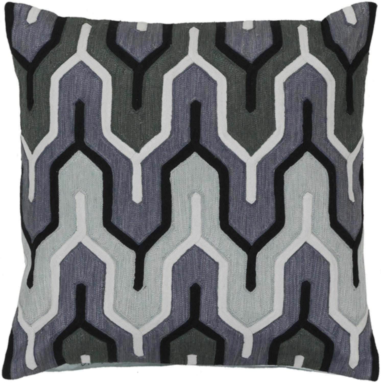 "18"" Belvedere Stripes Gray, Black and Green Decorative Square Throw Pillow Down Filler by Diva At Home"