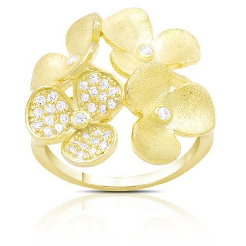 Samantha Stone Gold over Sterling Silver Cubic Zirconia Multi Flower Ring