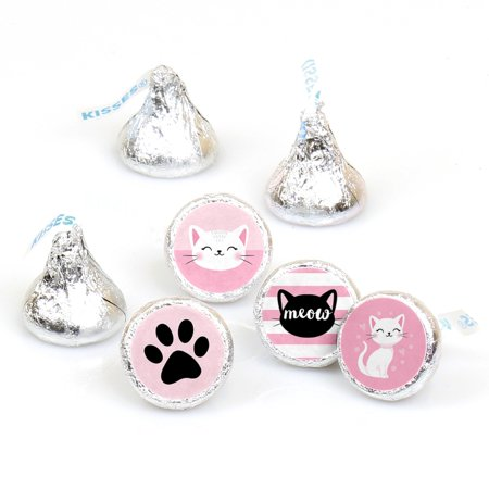 Purr-FECT Kitty Cat - Kitten Meow Baby Shower or Birthday Party Round Candy Sticker Favors - Labels Fit Hershey's Kisses - Candy Cat Too