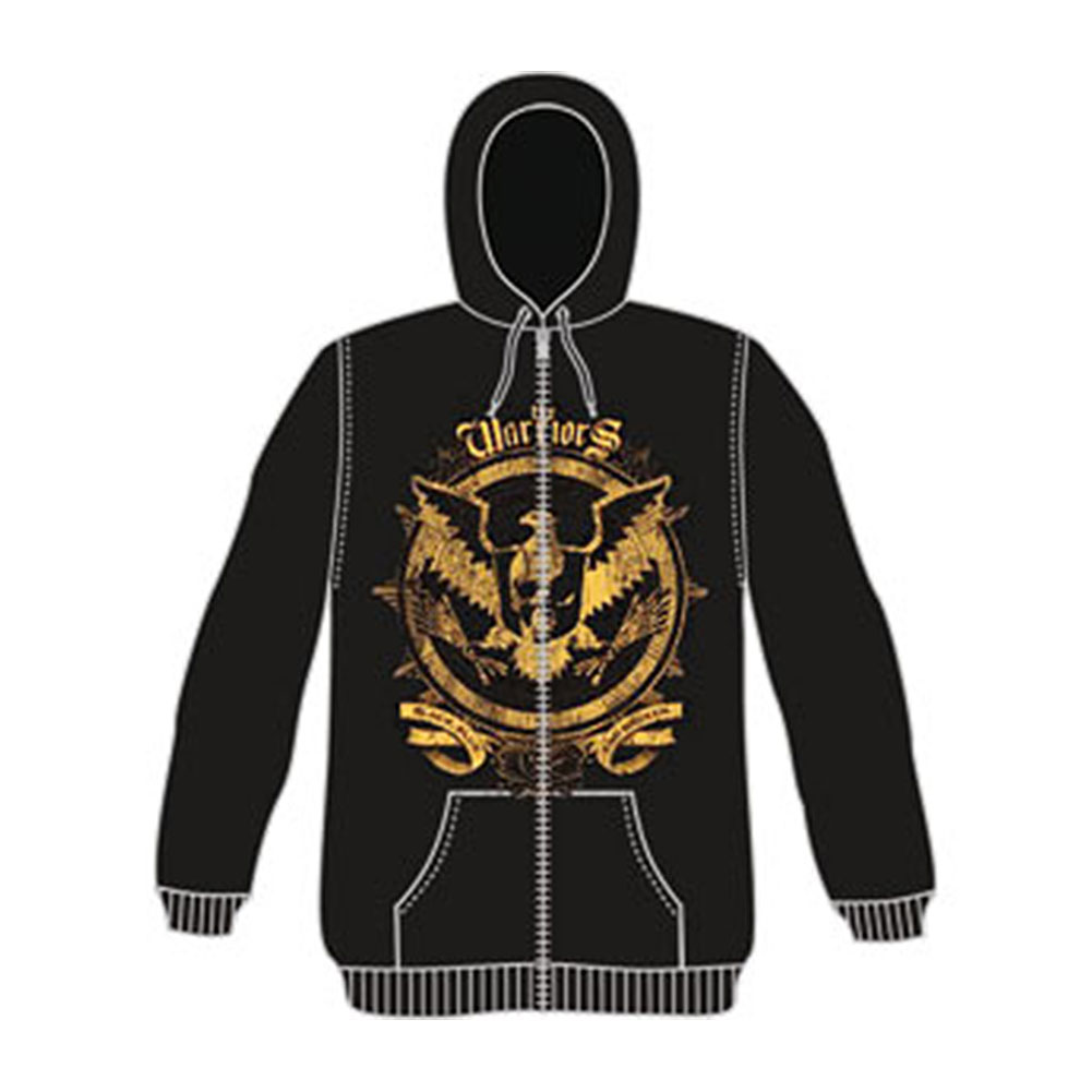 Warriors Men's  Zippered Hooded Sweatshirt Black