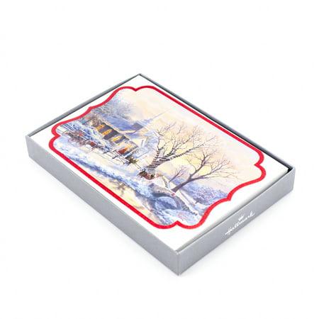 Hallmark Religious Christmas Boxed Cards, Thomas Kinkade Church (16 Cards and 17 Designed Envelopes) - Tinkerbell Christmas Cards
