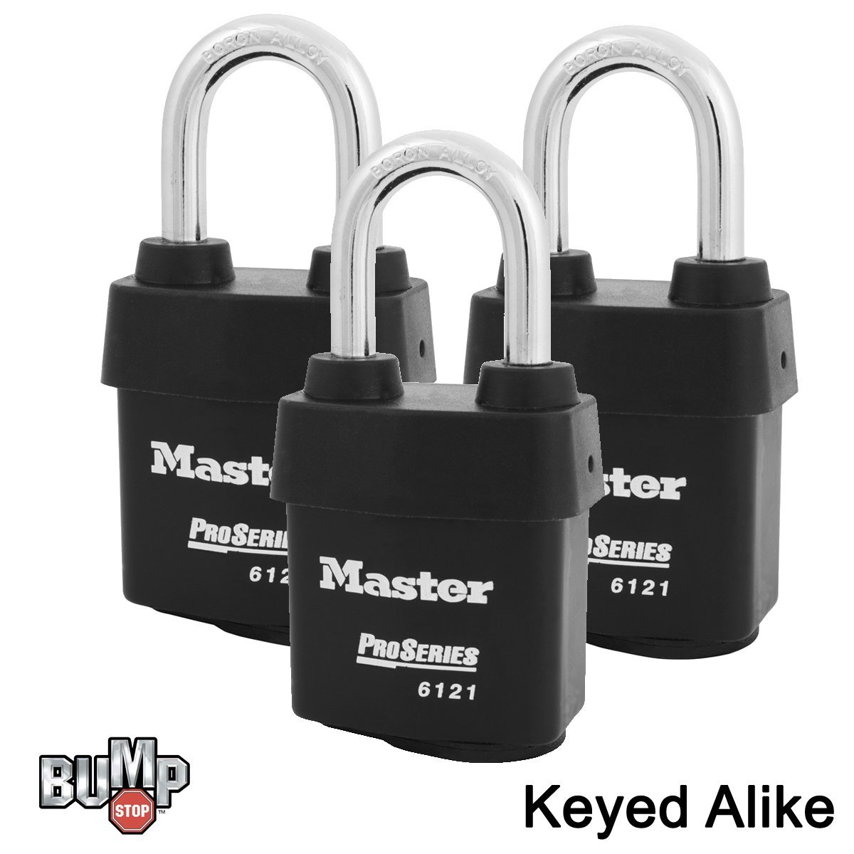 Master Lock - 6121NKALF-3 - Three (3) High Security Pro Series Padlocks w/ BumpStop Technology