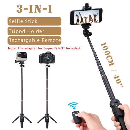3-in-1 Handheld Selfie Stick Tripod Holder Extendable bluetooth Remote For Phone - image 1 of 12