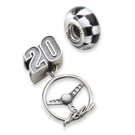 Matt Kenseth  20 Checkered Flag Car Number   Steering Wheel Sterling Silver Bead