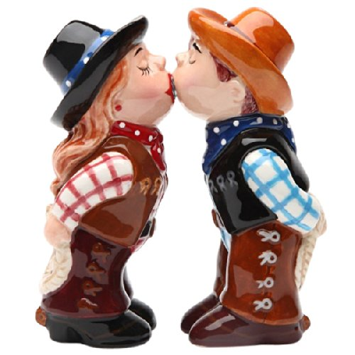 Cowboy and CowgirlMagnetic Ceremic Salt and Pepper Shakers by Pacific Trading