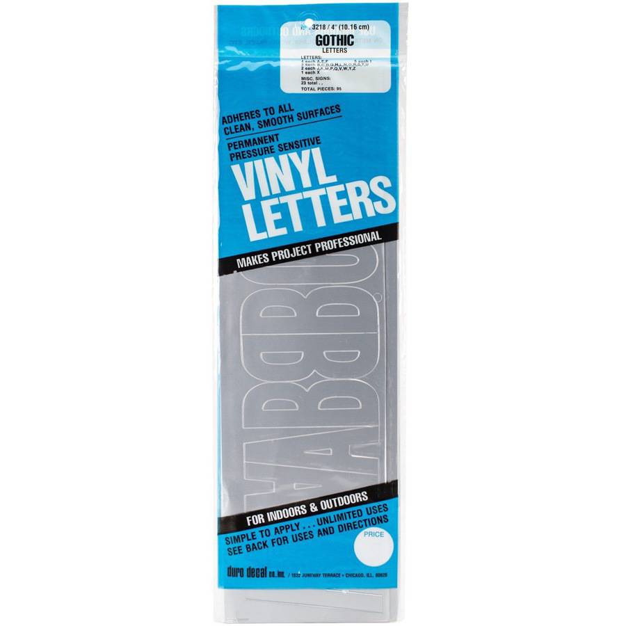 "Permanent Adhesive Vinyl Letters 4"" 95pk, Silver"