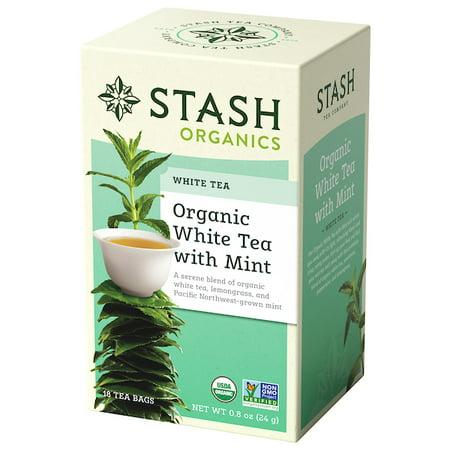(3 Pack) Stash Tea Organic White with Mint Tea, 18 Ct, 1.8 Oz