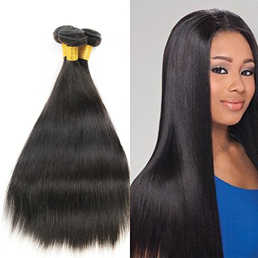 "FLORATA 100% Remy Human Hair Brazilian Straight Hair Extensions 1 Bundles 12"" 16"" 18"" 20"" Hair Extensions Off Jet  Black 6A(Free gifts)"