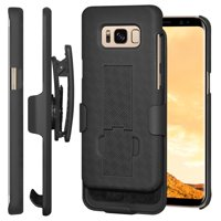 Samsung Galaxy S8 Case Screen Protector Combo, Premium Belt Clip Holster Case + HD Clear Full Screen Curved Tempered Glass Screen Guard for Samsung Galaxy S8