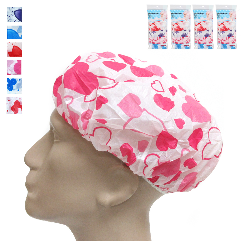24 Lot Shower Cap Womens Bath Hat Waterproof Elastic Band Protects Hair Home New