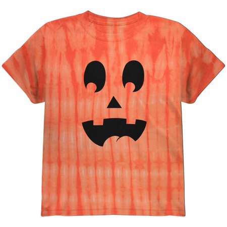 Halloween Jack-O-Lantern Surprised Face Tie Dye Youth T-Shirt