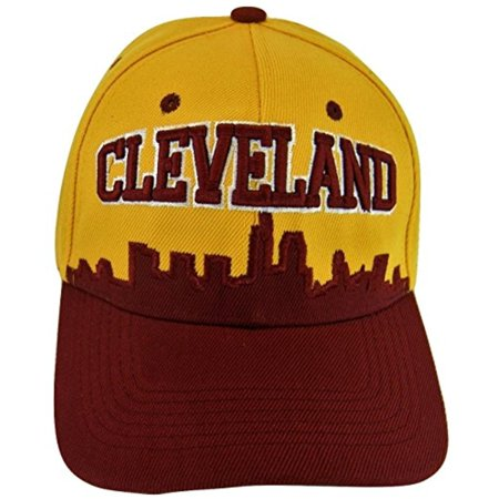 Cleveland Skyline Men's Adjustable Baseball Cap (Gold/Wine) ()