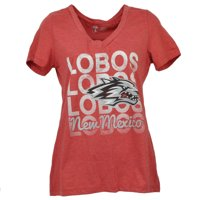 NCAA New Mexico Lobos Repeat Logo V Neck Tshirt Tee Short Sleeve Womens Medium