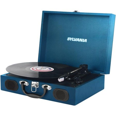 Sylvania STT102USB Portable USB Encoding Turntable Record Player in Suitcase, Blue ()