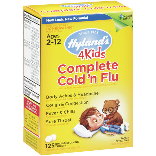 Hyland's 4 Kids Complete Cold & Flu Remedy Quick-Dissolving Tablets, 125 count