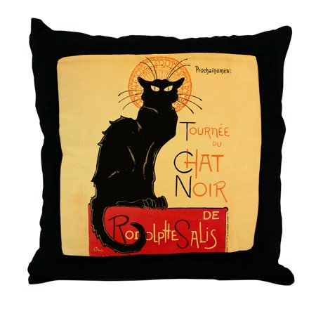 CafePress - Famous Black Cat French - Decor Throw Pillow (18