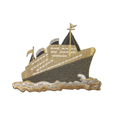 ID 5067 Gold Cruise Ship Large Patch Liner Boat Embroidered Iron On