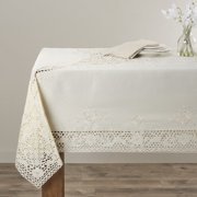Saro Embroidery & Cutwork Vintage Design Tablecloth