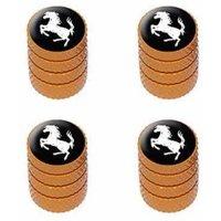 Horse Rearing Up on Black Tire Rim Wheel Aluminum Valve Stem Caps, Multiple Colors