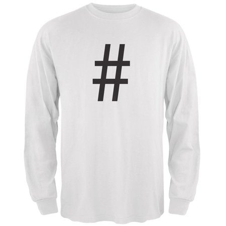 Halloween Hashtag White Adult Long Sleeve T-Shirt - Cool Hashtags For Halloween
