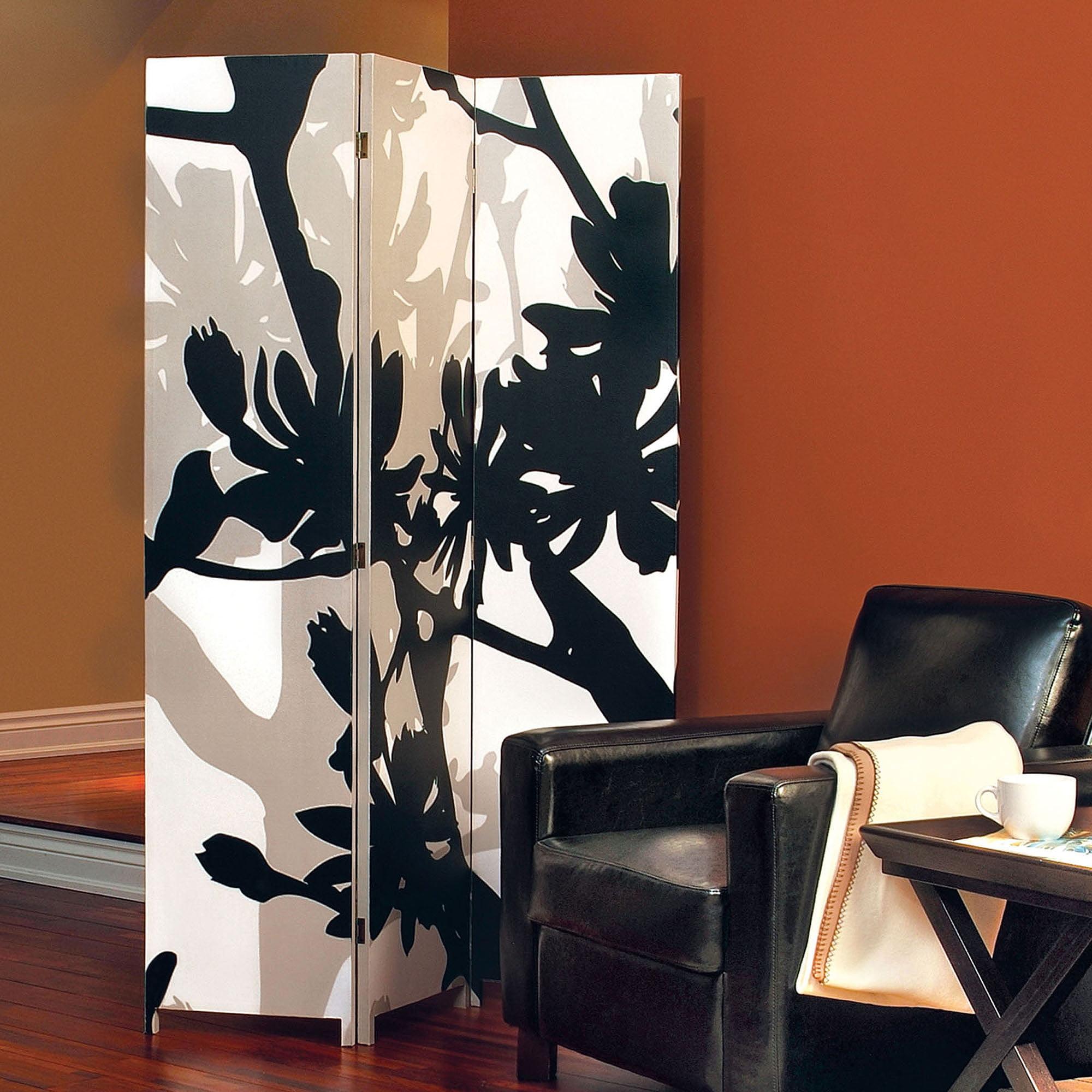 "Kiera Grace Bota Stretched Canvas Triple-Panel Floor Screen, Floral, 47"" x 71"""