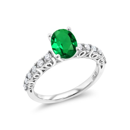 0.80 Ct Oval Green Simulated Emerald G/H Lab Grown Diamond 10K White Gold Ring - Oval Green Emerald Lab