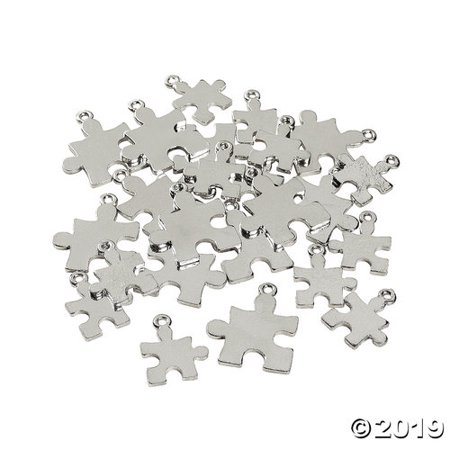 Puzzle Piece Charm (Silvertone Puzzle Piece Charms Autism Awareness 2 Sizes - 24)